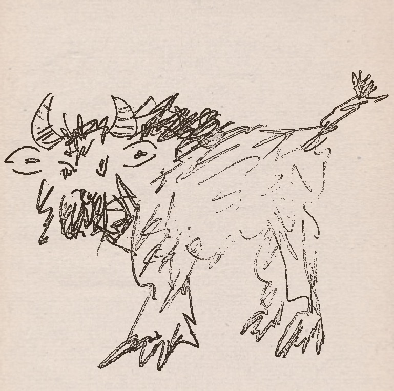 Eyewitness sketch of the Ozark Howler from Fayetteville Observer, with bison-like characteristics